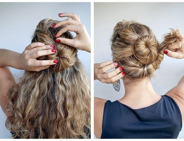 Как сделать пучок на кудрявых волосах